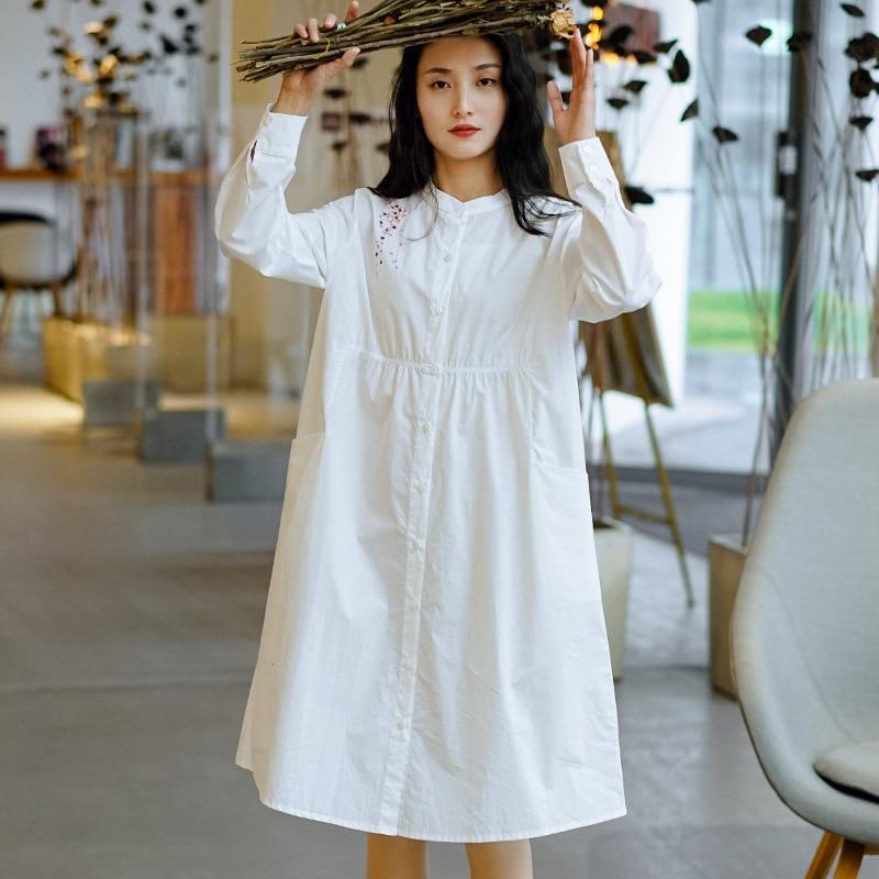 Nini wonderland vestido feminino primavera 2020 algodão bordado vestidos do vintage manga longa camisa das senhoras vestido branco roupas tamanho grande