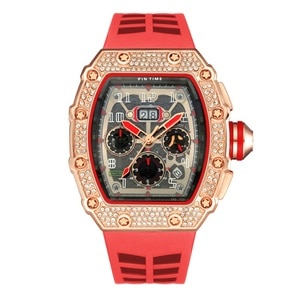 Red Strap Rose  Gold Men Diamond Watch IceOut Bling Watches All Dial Work Chrono Male Sport Wristwatch Quartz Rubber Band  Clock
