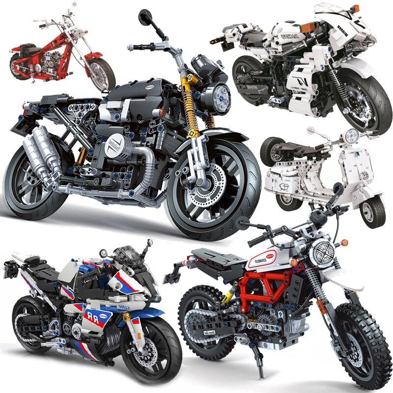 جديد مدينة موتو سباق الدراجات النارية عالية التقنية دراجة نارية المركبات اللبنات الطوب الفتيان DIY بها بنفسك تنوير لعب للأطفال هدايا