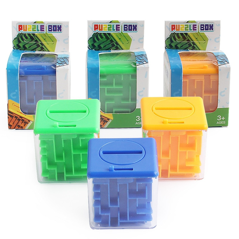 3D Cube Puzzle Maze Money Box Coin Box Cash Saving Box Piggy Bank Coins Storage Box Brain Storm Game Kid Toy Gift