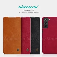 nillkin back cover for samsung galaxy s21 fe 2021 protect case luxury flip leather card slot for s21 fe lens protection case