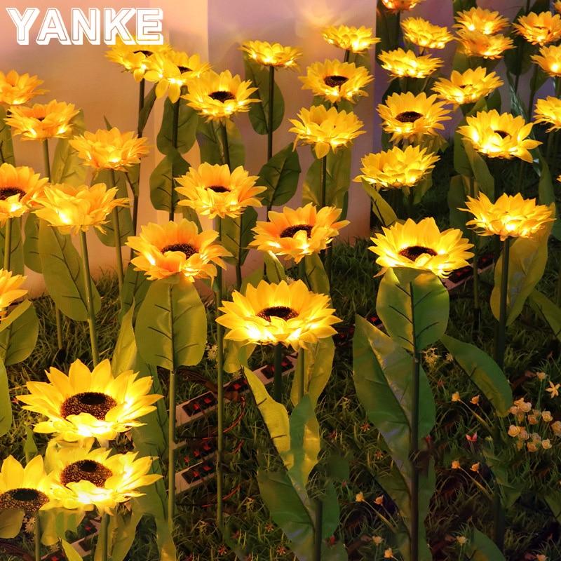 girassol solar paisagem lampada do gramado jardim decoracao luz a terra para caminho