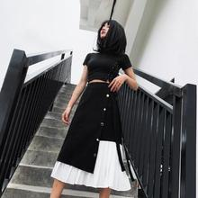 Women 2020 Spring Summer New Style Temperament Black Vintage Skirt Casual High Waist Patchwork Chiffon A Line Pleated Skirt