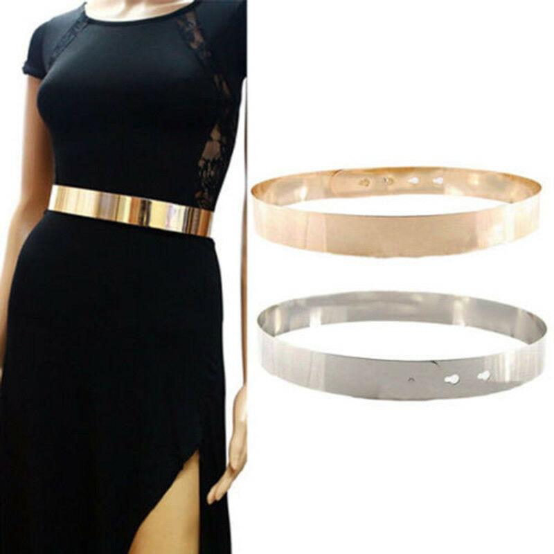 Femmes réglable métal ceinture de taille métallique Bling or plaque mince Simple ceinture ceinture chaînes ceinture Vogue miroir large bande dor