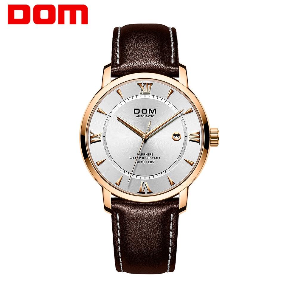 DOM ساعة فاخرة رجال الأعمال عادية الرياضة ساعة ميكانيكية الرجال ساعات أوتوماتيكية رغوة مقاوم للماء Wirstwatch M-8138