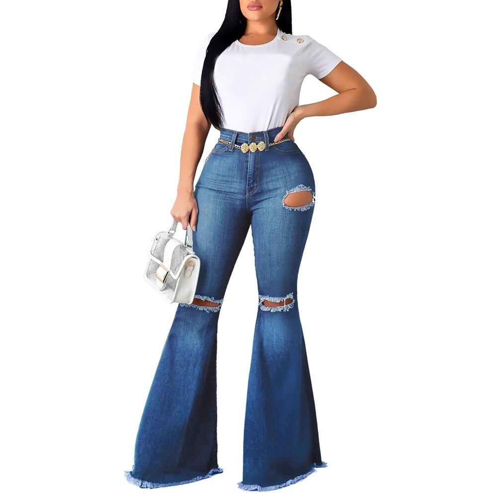 2020 Women Jeans Bell Bottom Pants  Loose Casual Women Flare Trousers Skinny Fashion Jeans Autumn Hole Streetwear Denim Pant D30