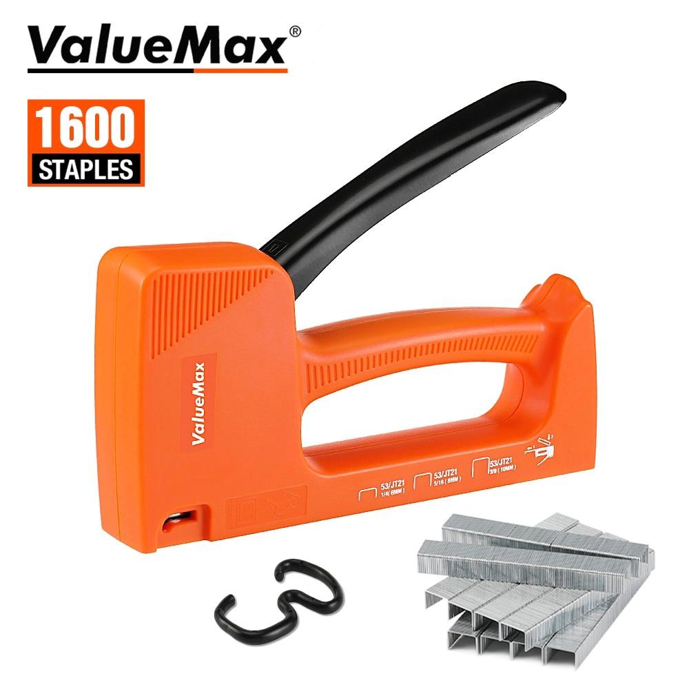 Легкий степлер ValueMax, ручной степлер для обивки, Тип 53, пистолет для ногтей, инструмент для мебели со скобами 1600 шт.