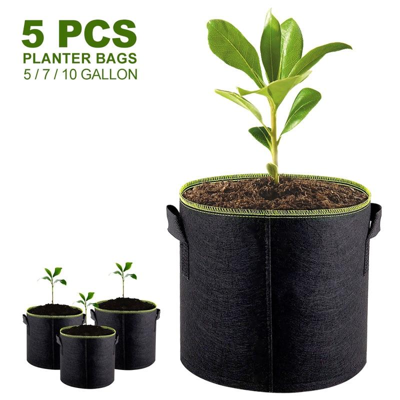 5pcs 5/7/10 Gallon Felt Plant Growing Bags Vegetable Flower Potato Pot Container Garden Planting Basket Farm Home Mushroom Seed