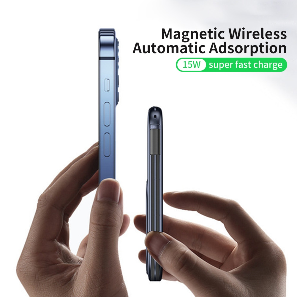 20000/10000mAh المغناطيسي بنك الطاقة اللاسلكية PD 20 واط بطارية خارجية USB C تهمة سريع آيفون 12 برو ماكس Led العرض مع الأسلاك