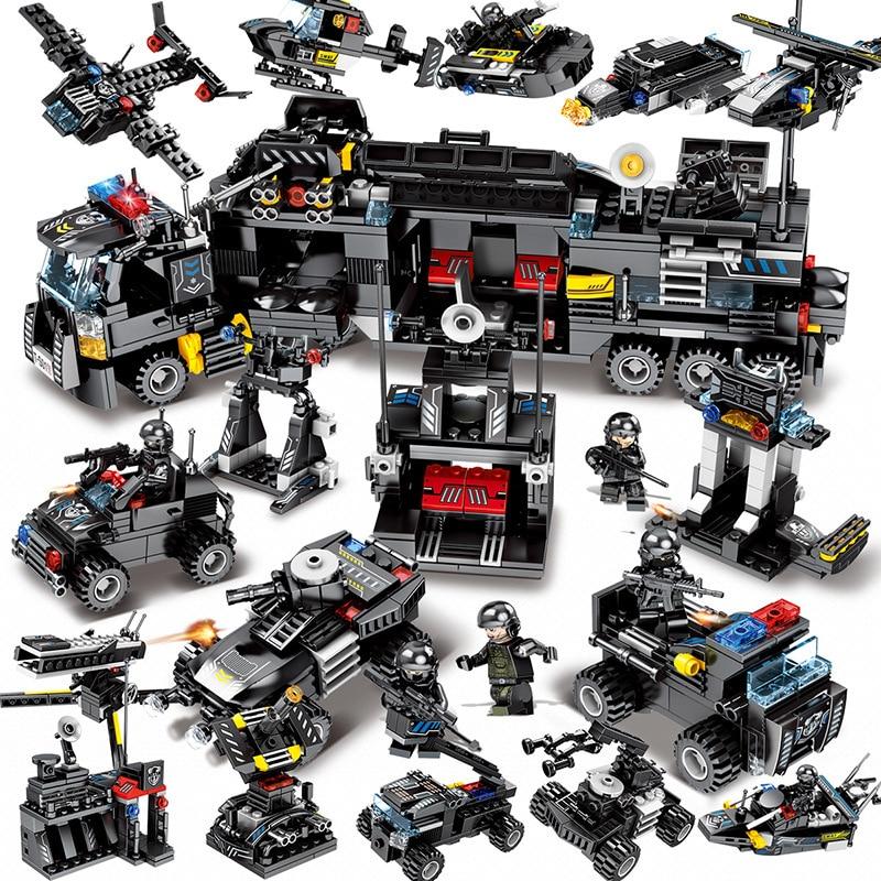 8 pçs/lote 695 pçs cidade polícia swat caminhão blocos de construção conjuntos navio veículo legoings técnica diy tijolos brinquedos playmobil para crianças