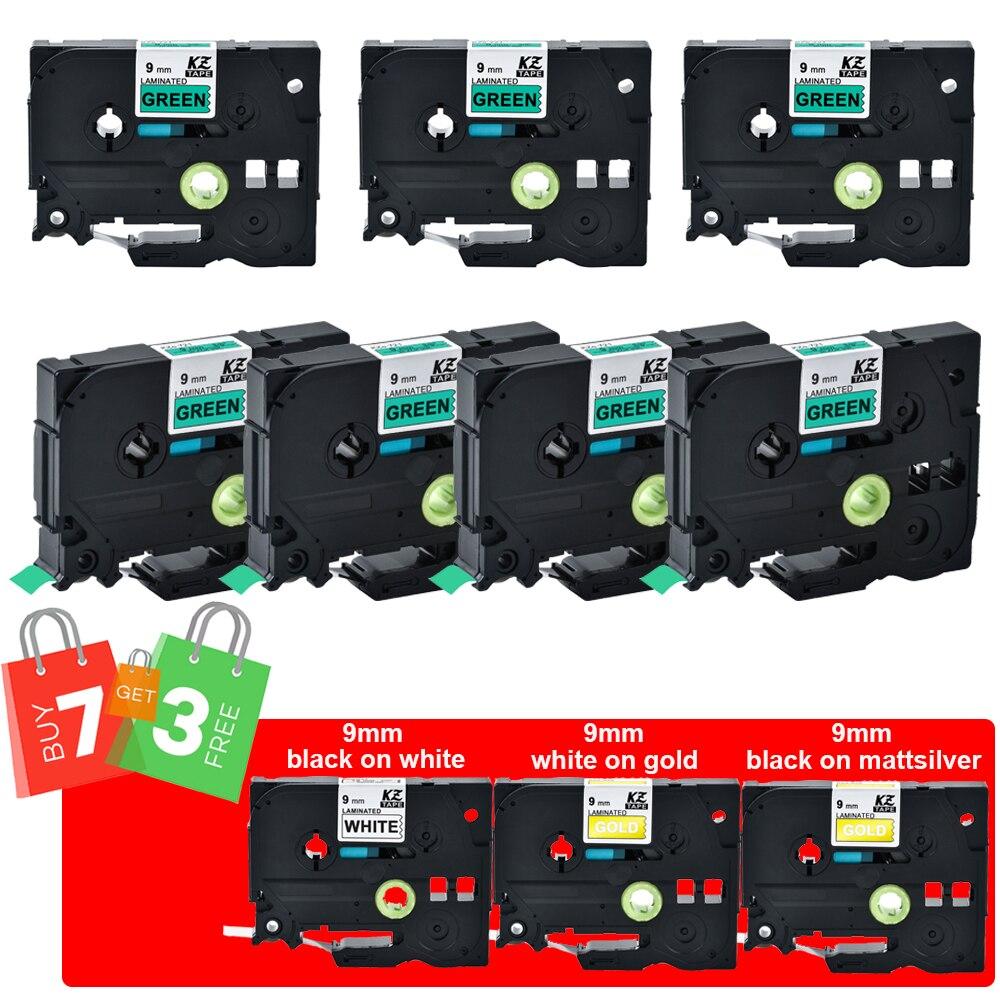 Kze 9 مللي متر الشريط الأسود على الأخضر متوافق ل Brother Tze-721 tze825 Tze-M921 شراء 7 مجانية 3 مغلفة التسمية الأشرطة