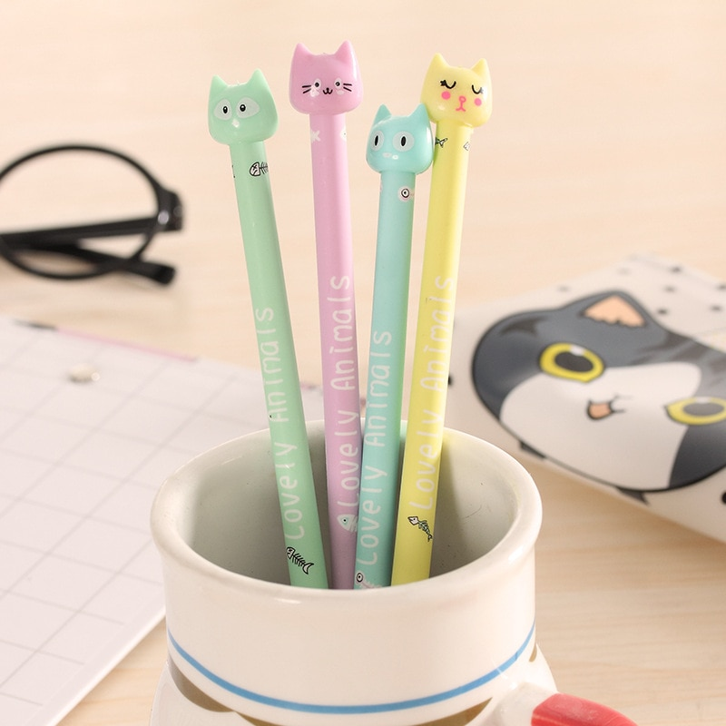 cute cat rabbit gel pens set kawaii stationery gel ink pens for kids gifts writing pen stationery caneta escolar school supplies 0.5mm Cute Kawaii Fish and cat Gel Pen Signature Pens Escolar Papelaria For Office School Writing Supplies Stationery Gift