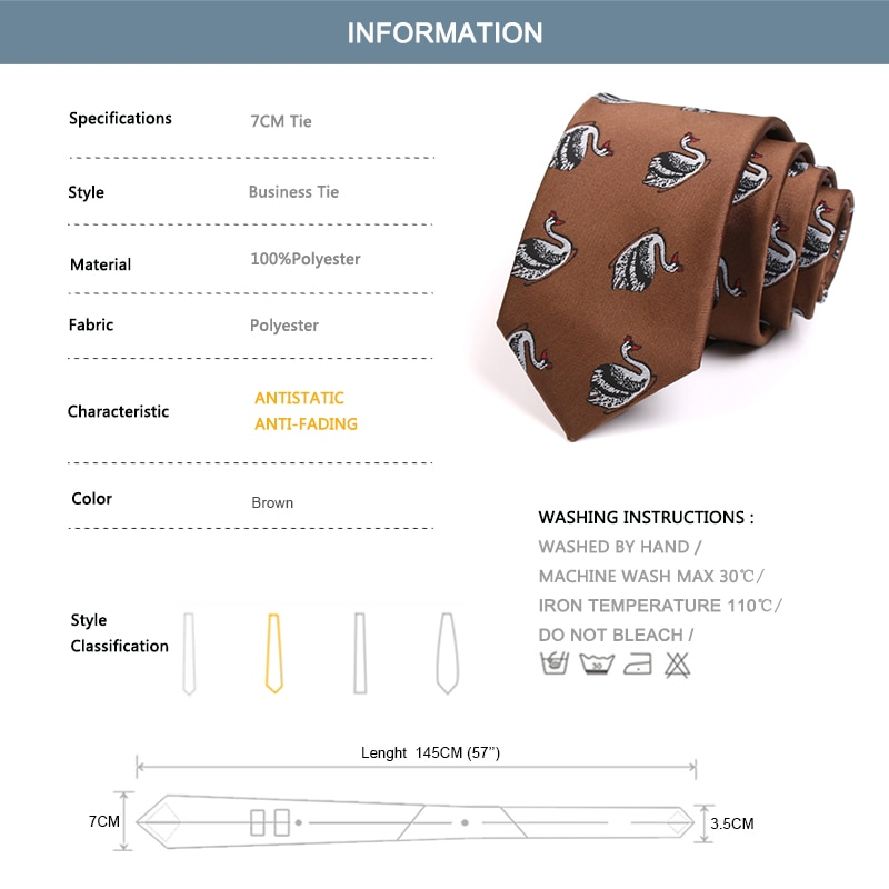 Gentleman Business Ties High Quality Goose Print Brown 7CM Tie For Men Business Work Necktie Fashion Formal Neck Tie Gift Box