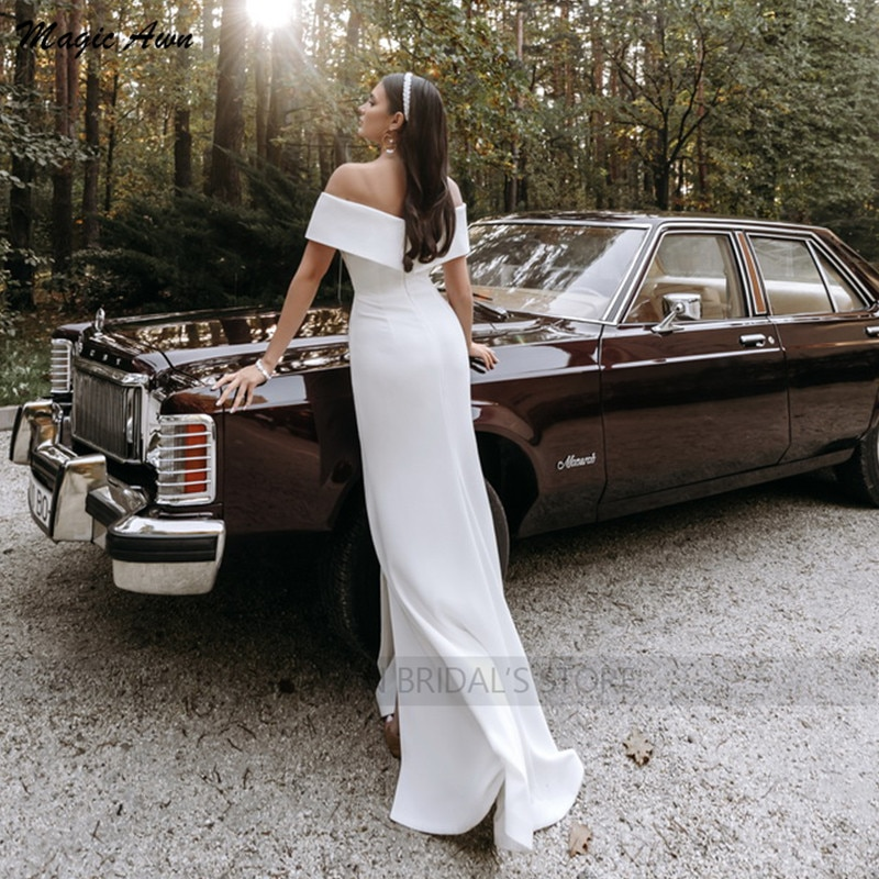 Magic Awn Simple Mermaid Wedding Dresses Bohemian Off The Shoulder Satin Side Split White Mariage Gowns For Women Beach Robes