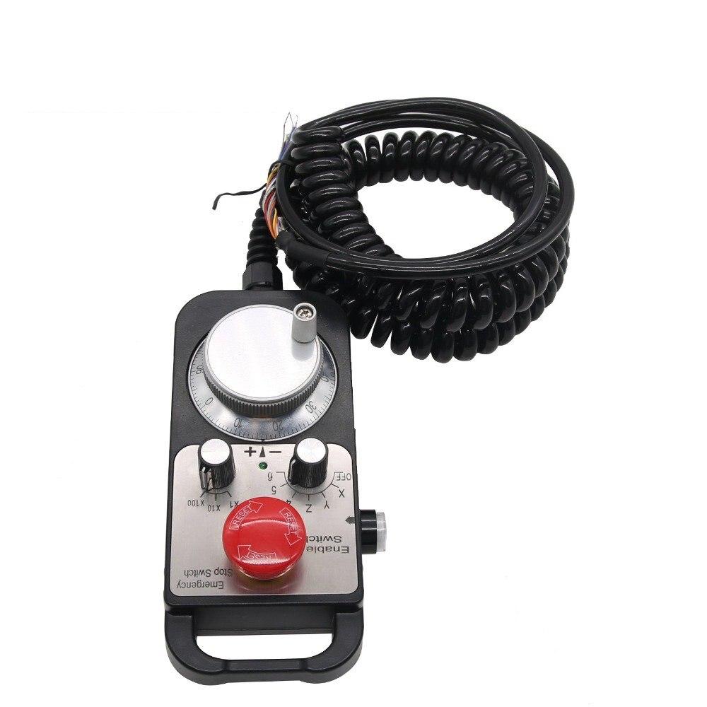 عجلة يدوية بقلادة MPG CNC بـ 6 محاور, مع مفتاح الإيقاف في حالات الطوارئ ، مولد النبض اليدوي CNC لآلة CNC