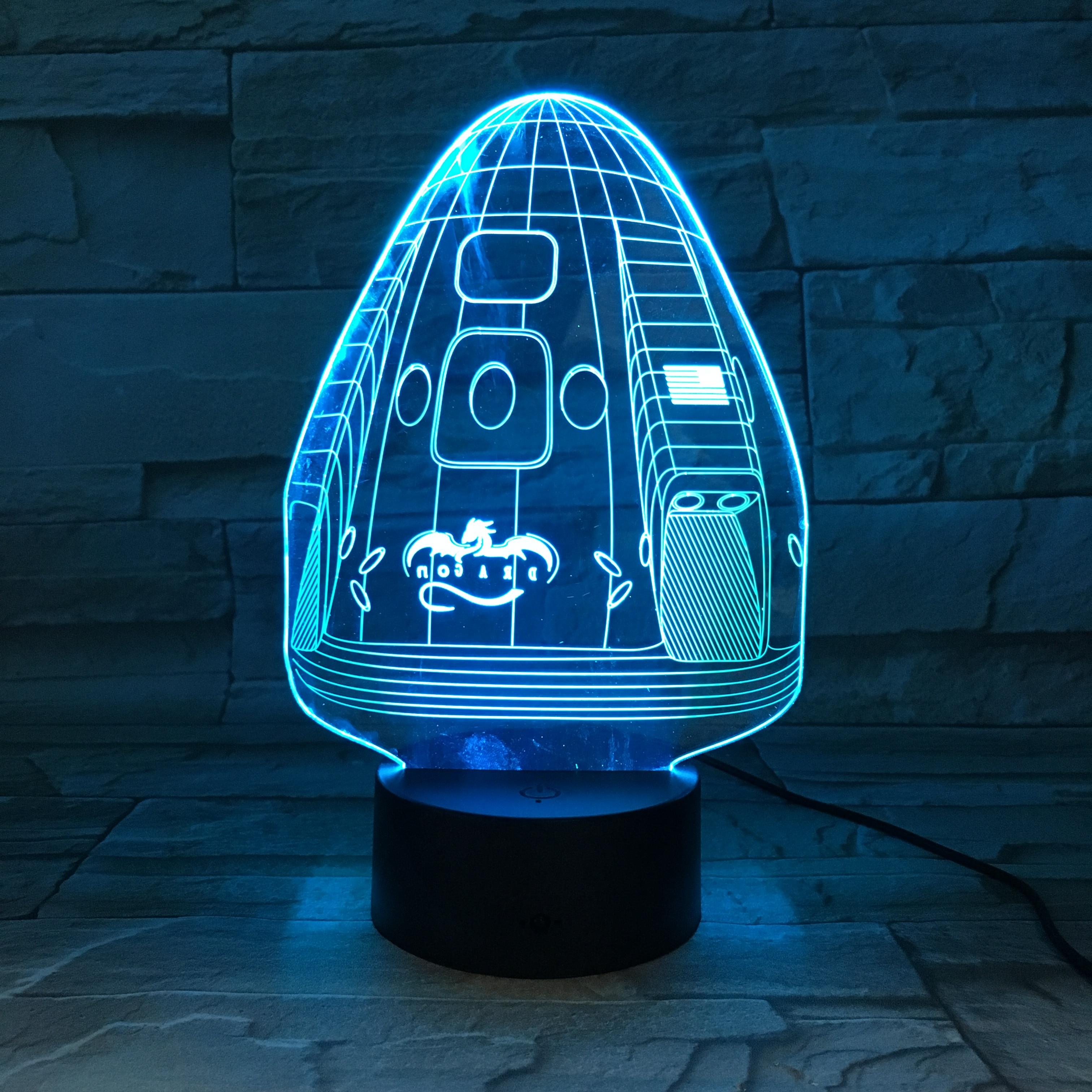 Espacio X dragón nave espacial 3D lampara mejor regalo para Astronomy Enthusiast batería operado lámpara de luz Led nocturna 2019 mejor venta