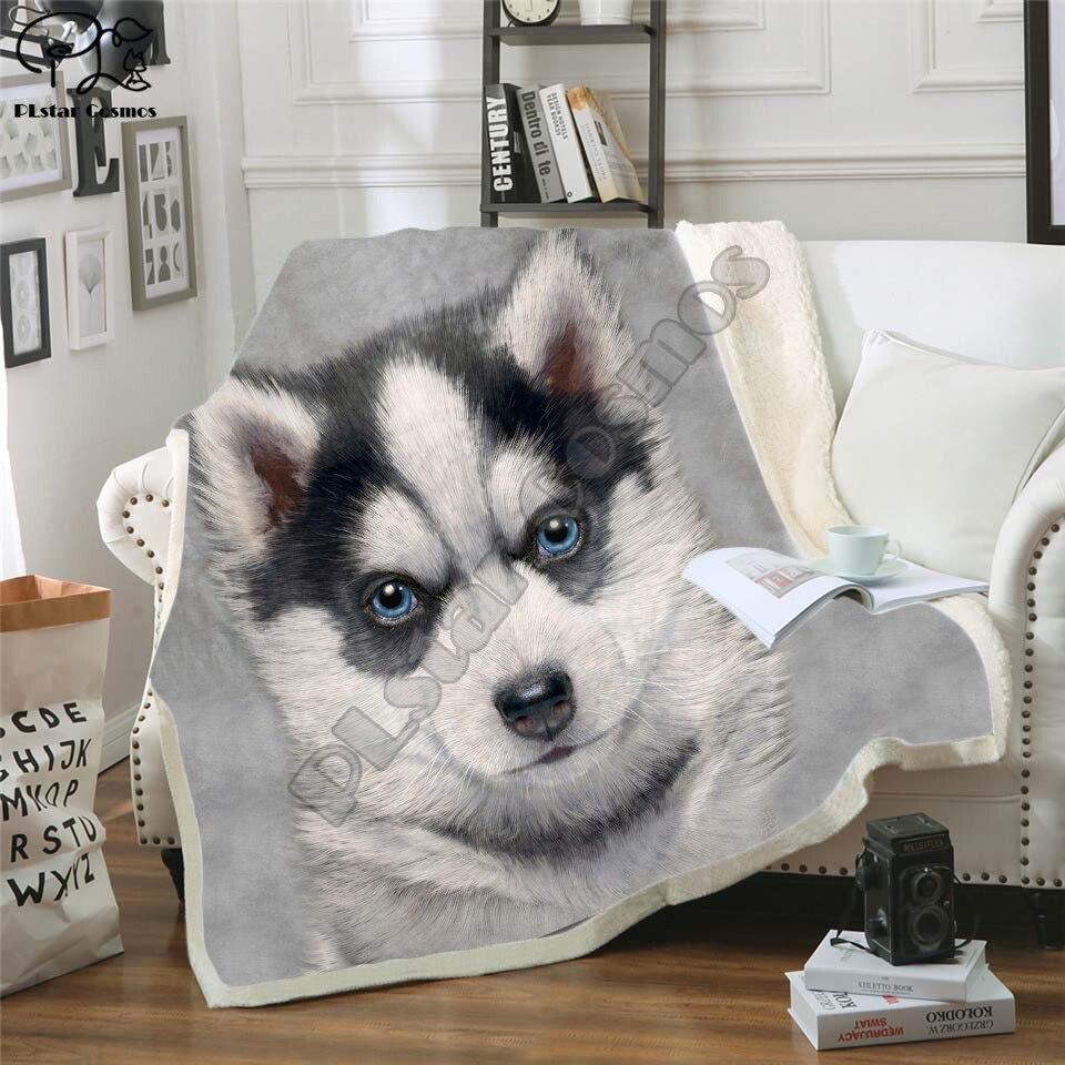 Cara de perro 3D impresión Manta polar de felpa adultos de edredones casa Oficina nórdico Casual niños niñas Sherpa manta dog10