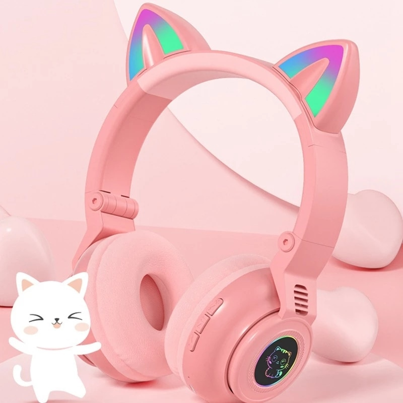 Bluetooth 5.0 Headset Cat Ear Wireless LED Light Mobile Phones Headphone Stereo Music Headphones Girl Daughter Headset For PC