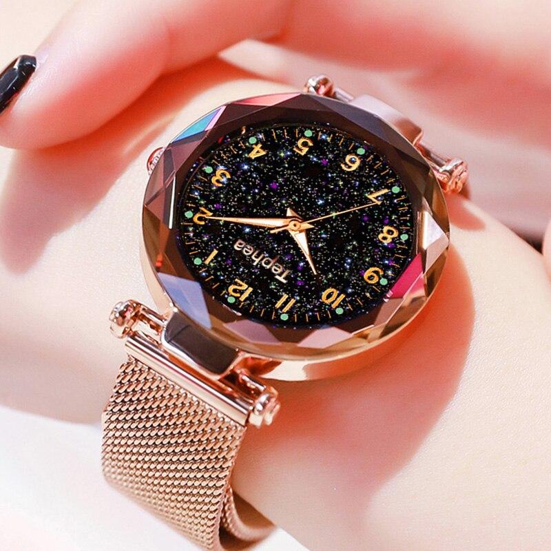 Relojes de lujo Relogio Feminino para mujer, relojes magnéticos con cielo estrellado para mujer, relojes de pulsera de cuarzo con diamantes a la moda para mujer, Zegarek Damski