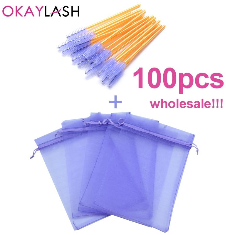 OKAYLASH wholesale colorful drawstring organza eyelash packaging bag mascara wands applicators bulk makeup lash packing baggie