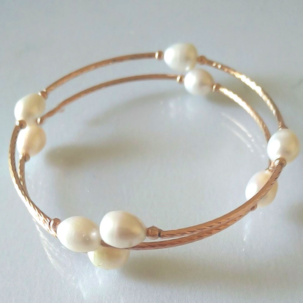YKNRBPH 14K Classic Pearl Bracelet Open Exquisite For Women's Weddings Yellow Bangle Fine Jewelry