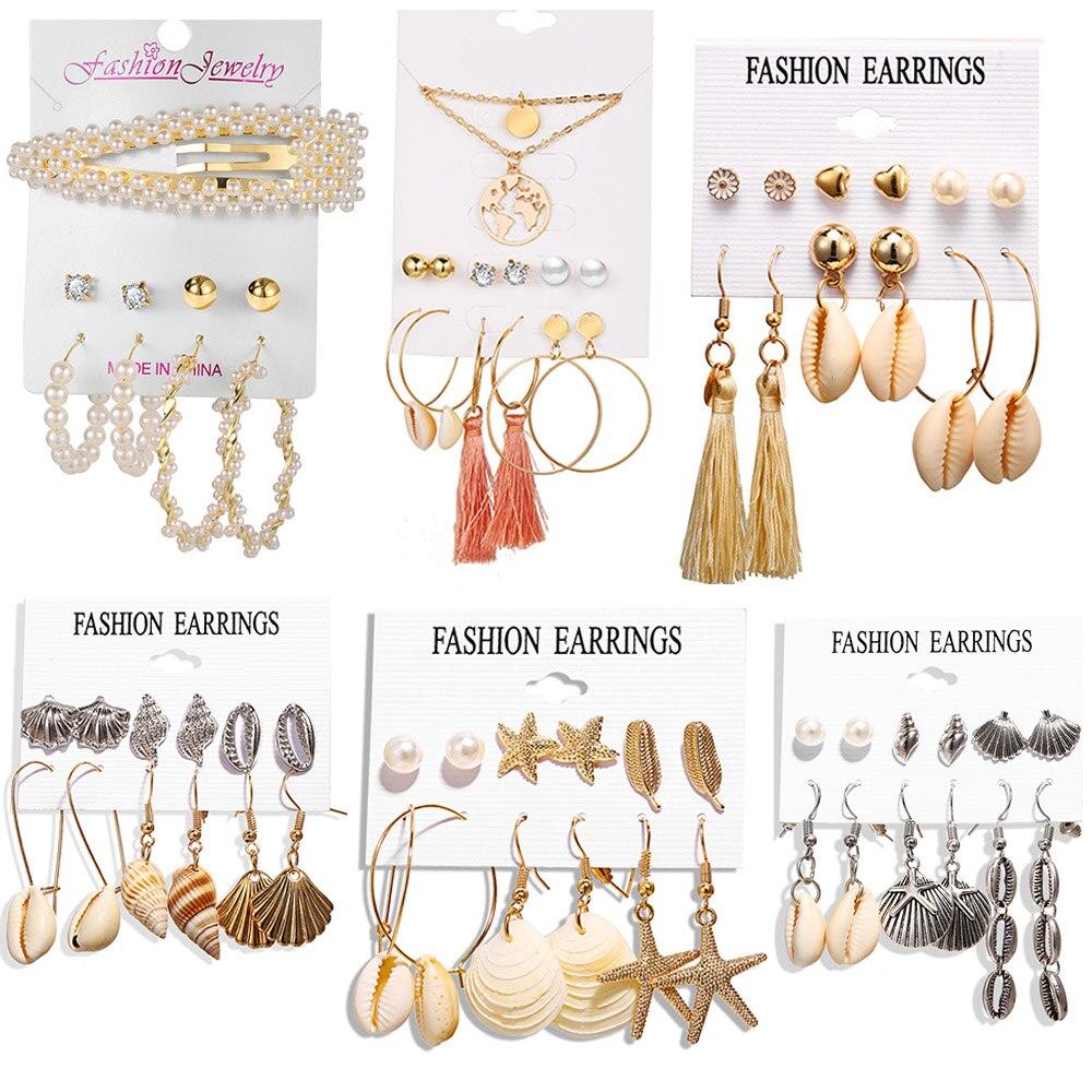 ¡Novedad de 2020! Pendientes de borlas con diseño de estrella de mar y perlas para mujer, conjunto de pendientes de gota colgantes redondos de Concha a la moda, regalo de joyería de playa para el verano