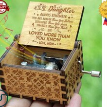 Wooden Music Box Mom/Dad To Daughter -You Are My Sunshine Engraved Toy Kid Gift Hand Crank Clockwork