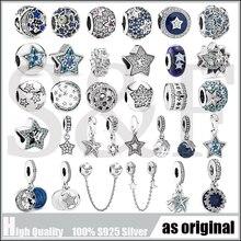 100% Настоящее серебро 925 пробы, ювелирное изделие, яркая звезда, зажим, Морская звезда, Очаровательные бусы, подходят для Pandora, браслет для женщин, сделай сам, ювелирное изделие