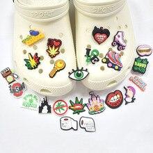 New weed leaves 1 pz croc Charms cartone JIBZ fai da te combiation per la decorazione di scarpe compleanno bambini amici regali