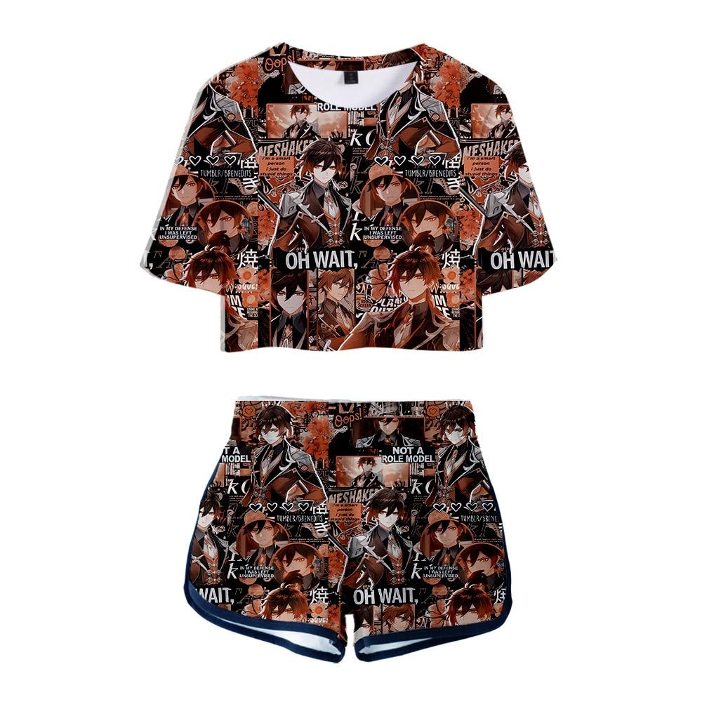 Popular 3D Genshin Impact Women Two Piece Sets Crop Tops T-shirt+Shorts Summer Anime Hip Hop Girls Printed Game Suits Clothing