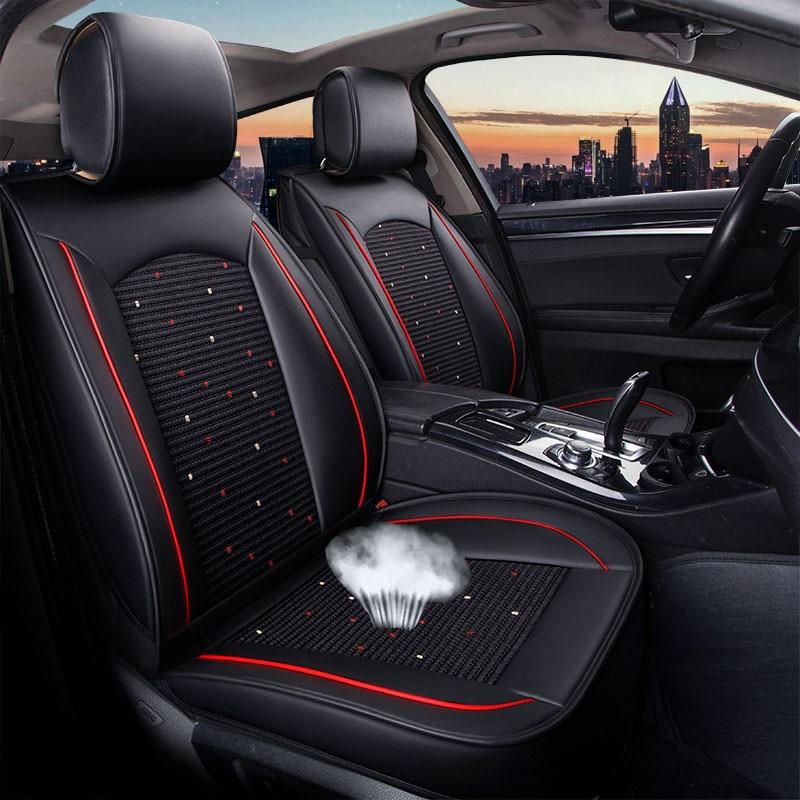 Cubierta de asiento de coche de cuero PU, accesorios protectores de asiento de vehículo para Mercedes Benz clase C W202 T202 W203 T203 W204 W205 C200
