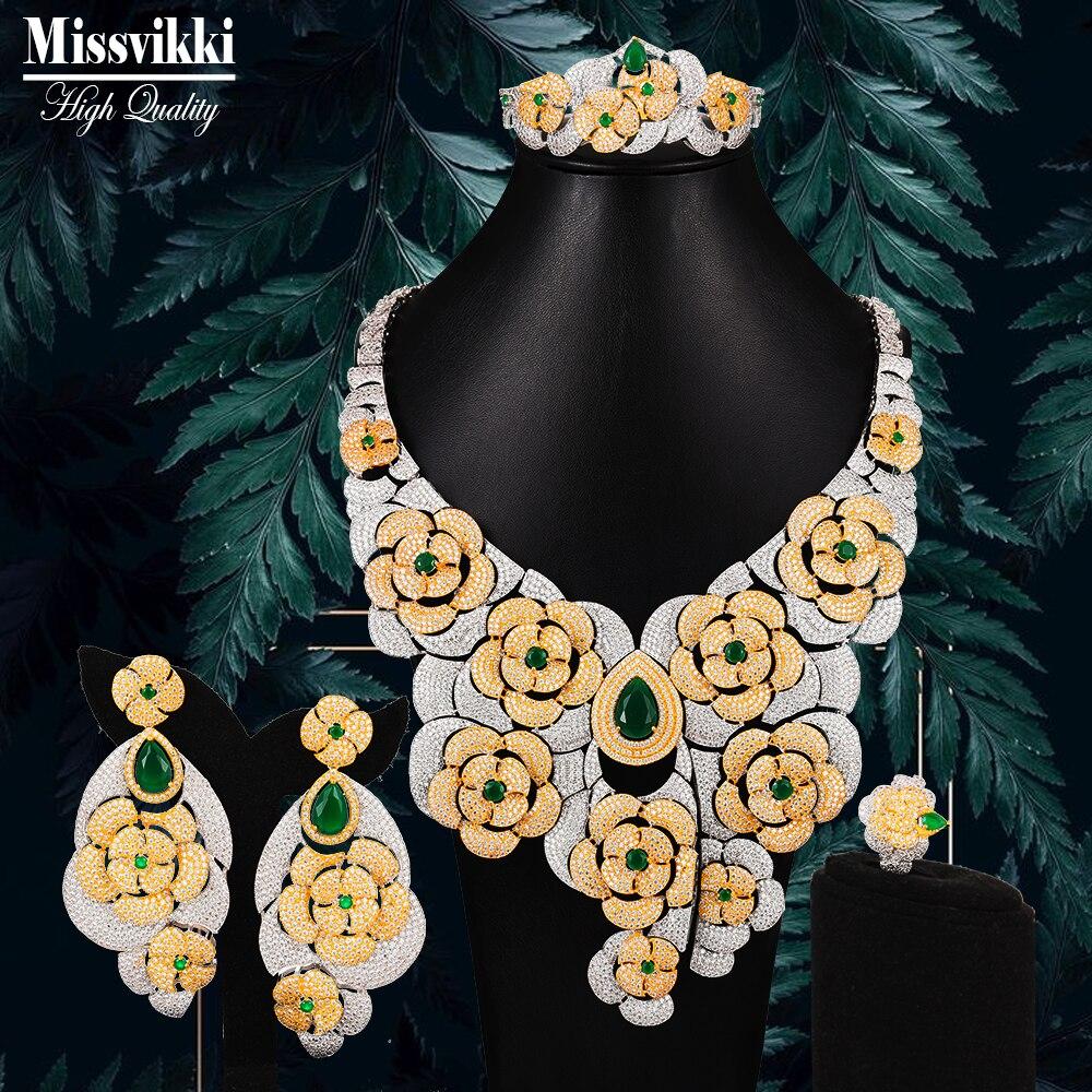 Missviki الأصلي الأخضر تشيكوسلوفاكيا الفاخرة الأفريقي مجموعات مجوهرات للنساء حزب الزركون كريستال دبي الزفاف مجوهرات الزفاف مجموعات هدية