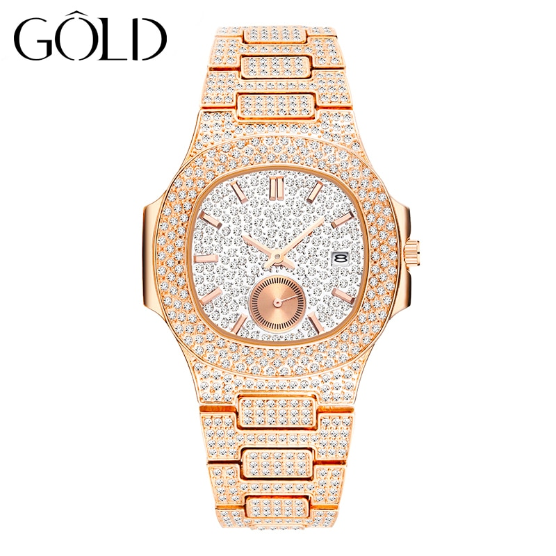 GOLD TOP brand fashion 18K gold full decoration ladies quartz waterproof watch luxury diamond