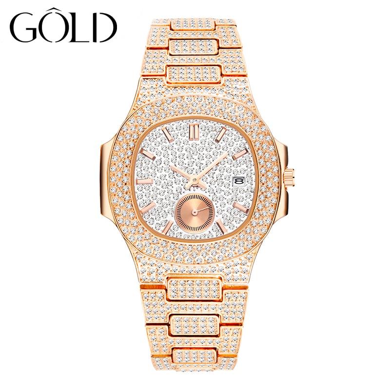 الذهب العلامة التجارية قمة الموضة 18K الذهب الديكور الكامل السيدات كوارتز ساعة مضادة للماء الفاخرة الماس