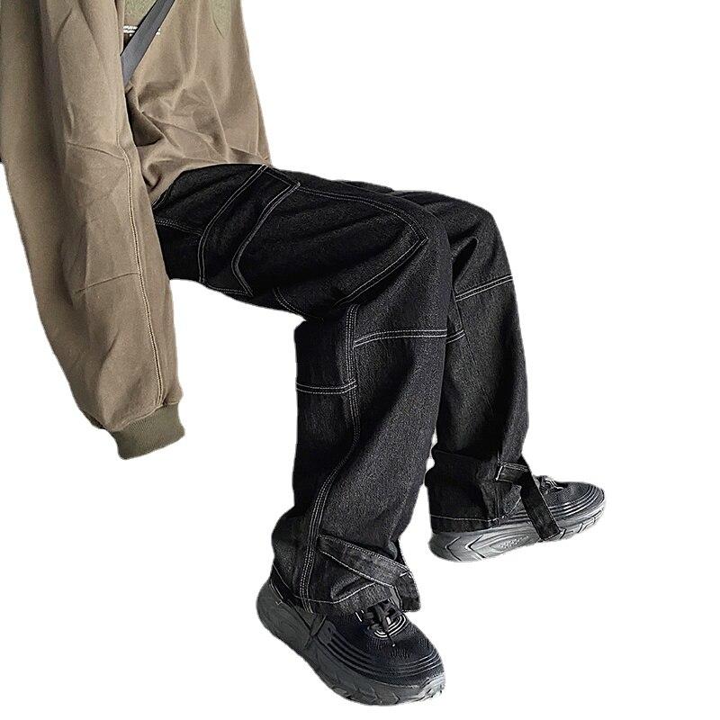 korean men nine points pants casual loose classic blue straight cowboy haren american baggy jeans wash biker denim trousers Men Jeans Wide Leg Denim Pant Loose Straight Baggy Men's Jeans Streetwear Hip Hop Casual Skateboard Pants S-5XL Neutral Trousers