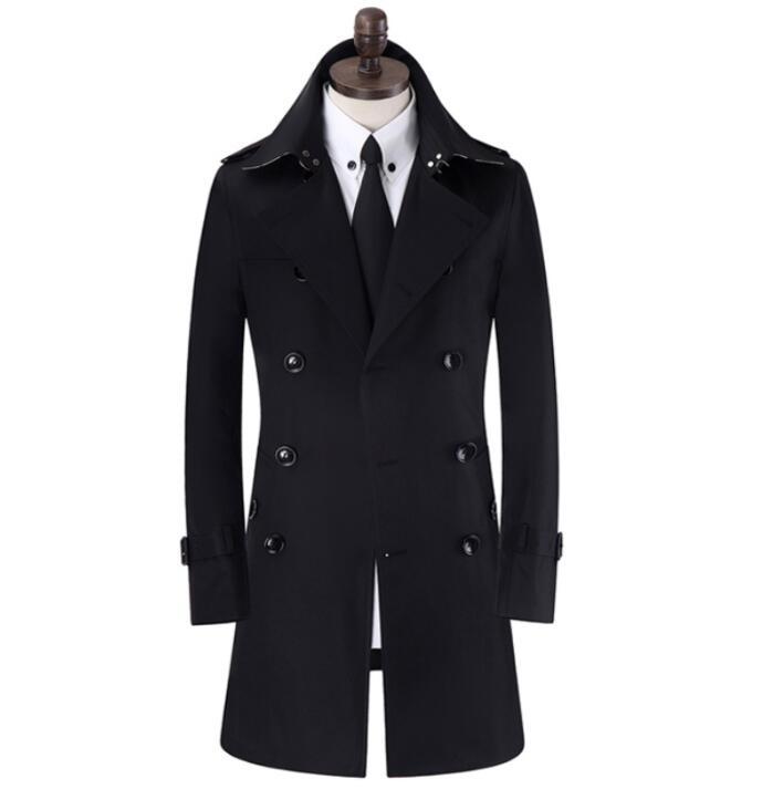 معطف واق من المطر أسود للرجال ، ملابس قصيرة على الطراز الإنجليزي بأكمام طويلة ، تصميم جديد S - 9XL ، ربيع-خريف