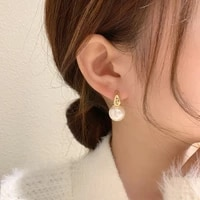 new simple celebrity style gold pearl drop earrings for woman 2021 korean fashion jewelry wedding girls sweet accessories