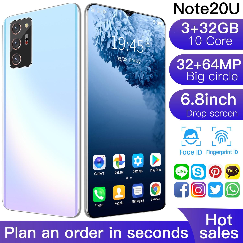 Global Version Note20U Smartphone 6.8 Inch HD Screen Android 10 3GB RAM 32GB ROM Unlocked Dual Sim Mobilehones Cellphone Celuare