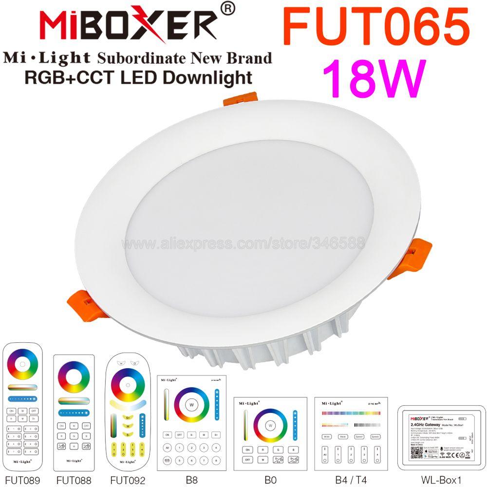 MiBoxer FUT065 18W RGB + AAC Downlight AC110V 220V LED foco de techo 2,4G RF remoto WiFi APP Alexa Control por voz de Google
