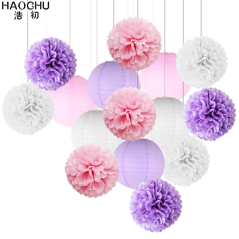 15 pièces/ensemble rond chinois papier lanternes papier de soie boules de fleurs pour fête danniversaire mariage bébé douche décoration rose violet