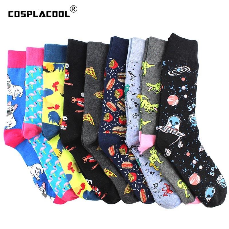Creative Food Animal Funny Socks Cotton Alien Planet Socks Men Novelty Design Dinosaur Crew Skateboard Socks Calcetines Hombre
