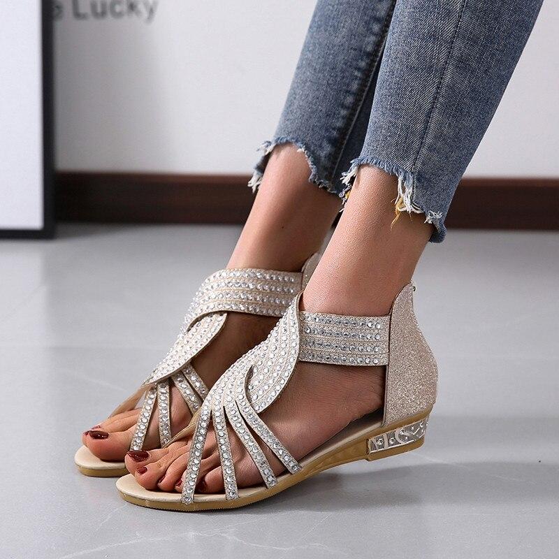 Sandalias de verano COOTELILI 2020 para mujer, zapatos planos de Punta abierta, zapatos informales de talla grande Roma, sandalias para mujer de 36 a 43, zapatos de mujer con diamantes