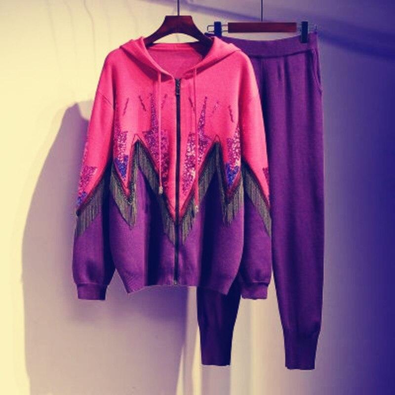 2020 Autumn Winter Fashion 2 Piece Set Women Pant And Sweatsuits luxurious Beading tassel Women's Tracksuit Suits Clothing