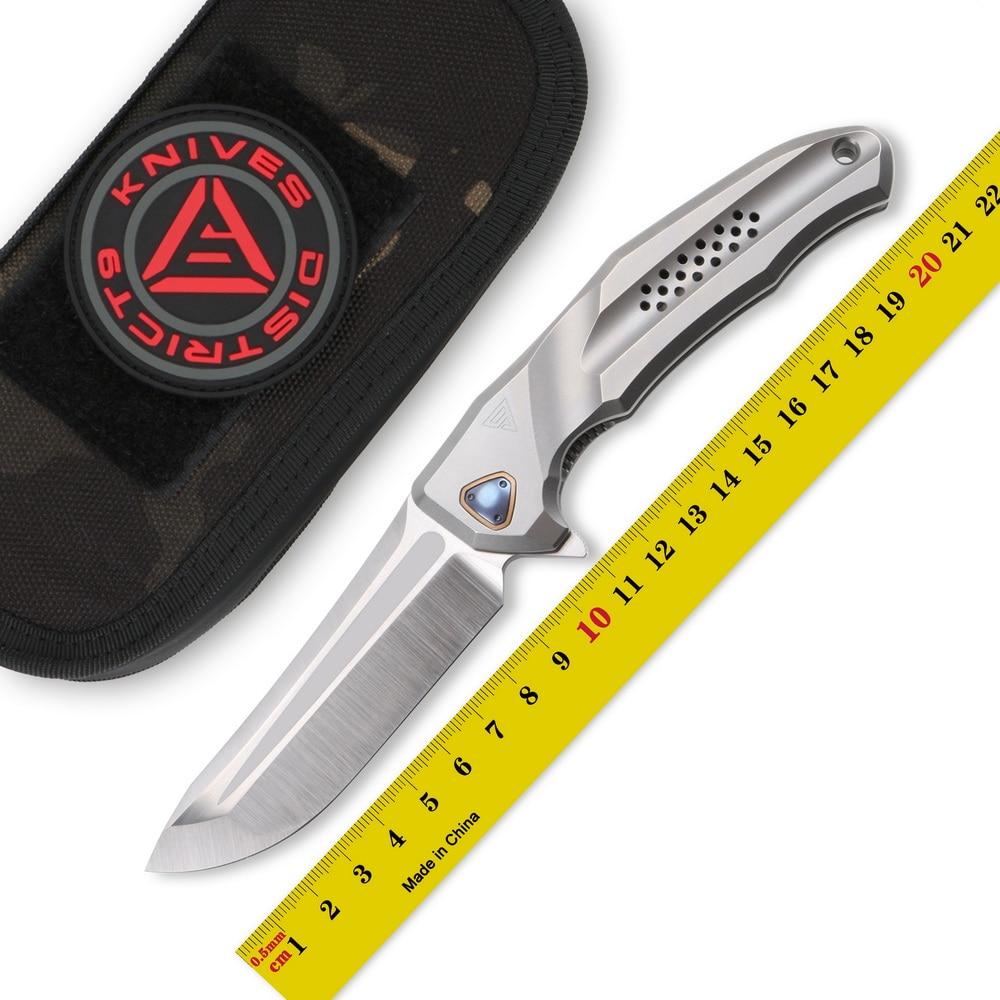 DICORIA District 9 batalla cuchillo plegable abatible M390 hoja mango de titanio caza cuchillo de supervivencia al aire libre EDC herramienta Navajas de bolsillo