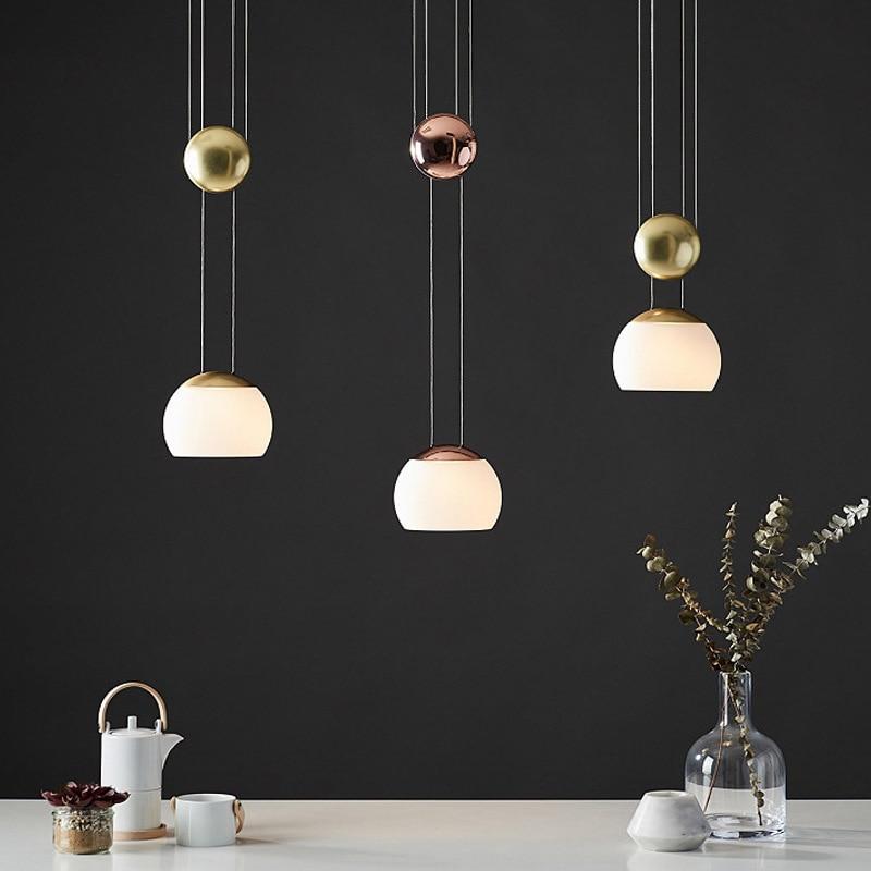 Современные светодиодные подвесные светильники, подвесные светильники из золотого стекла, подвесные светильники для кухни, столовой, дома...