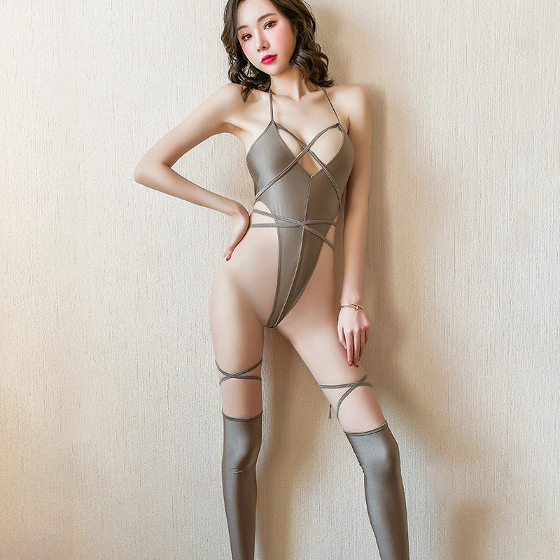 Sexy Puttee Bandage High Cut Bodysuit Women Backless Hollow Out Thong Leotard 2020 Gold Color Sheer Bodysuit Thong with Stocking missomo women thong simple and sexy hollow solid color base strap design matching thong ladies