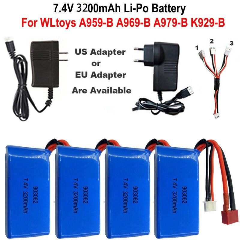 High Quality 7.4V 3200mAh 2S Lipo Battery For WLtoys A959-B A969-B A979-B K929-B 12428 RC Desert Truck Car Upgrade Parts battery