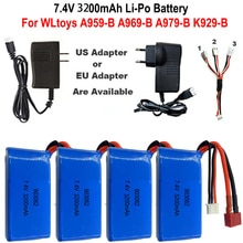High Quality 7.4V 3200mAh 2S Lipo Battery For WLtoys A959-B A969-B A979-B K929-B 12428 RC Desert Tru