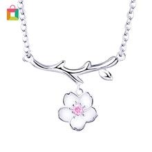 Gran oferta, collar de flores de cerezo, cadena de flores, collares con colgante de cristal rosa, joyería, collar femenino brillante