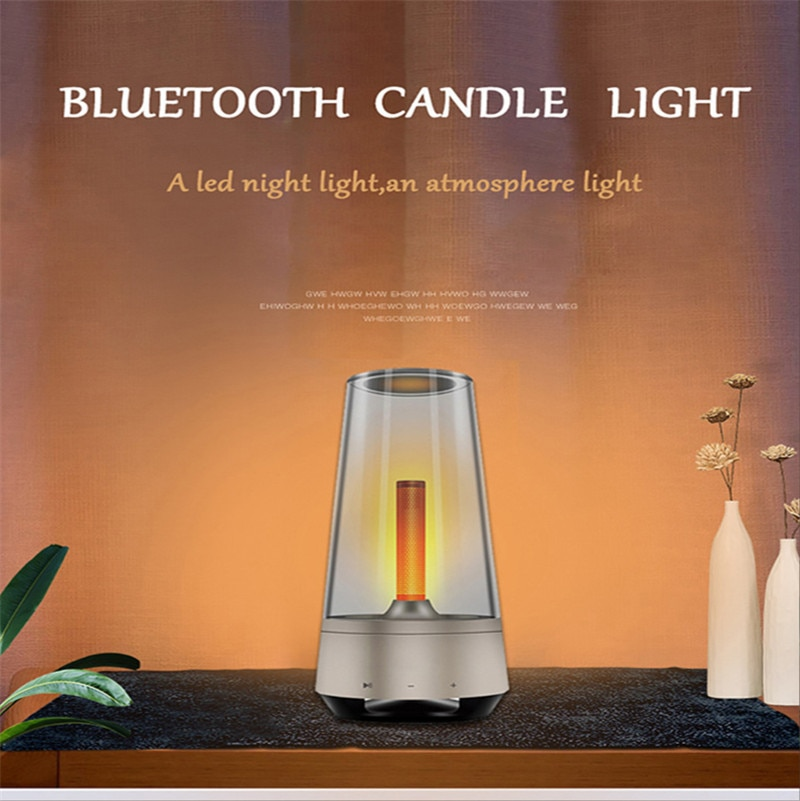 Candle Breathing Night Light Bluetooth Speaker Bedside Lamp Sound Music Creative Atmosphere Warm Romantic Table Lamp for Room